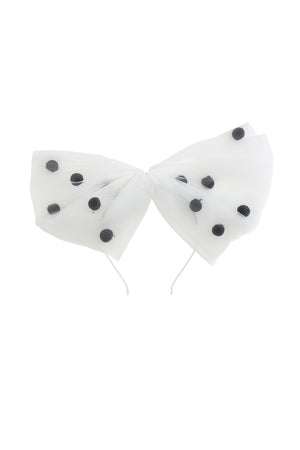 1940's Bow Headband - White/Black - PROJECT 6, modest fashion