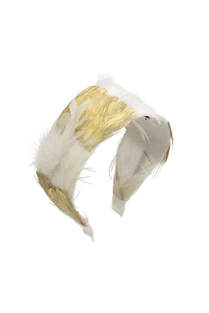 Narrow Feather Headband - White/Gold - PROJECT 6, modest fashion