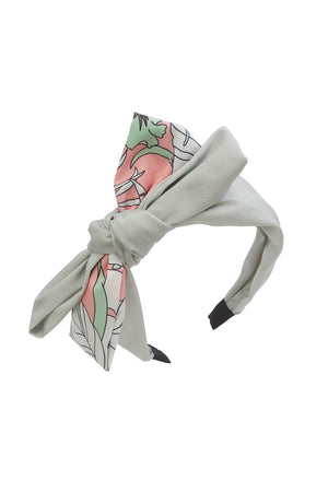 Wide Knot Headband - Light Grey/ GreenPink Print - PROJECT 6, modest fashion