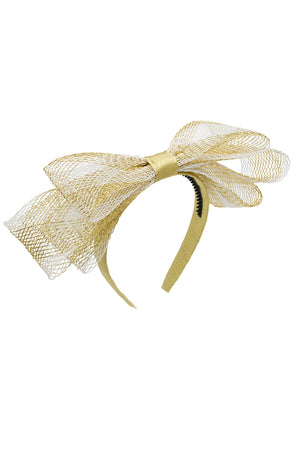 Present Bow Headband - Gold/White Mesh - PROJECT 6, modest fashion
