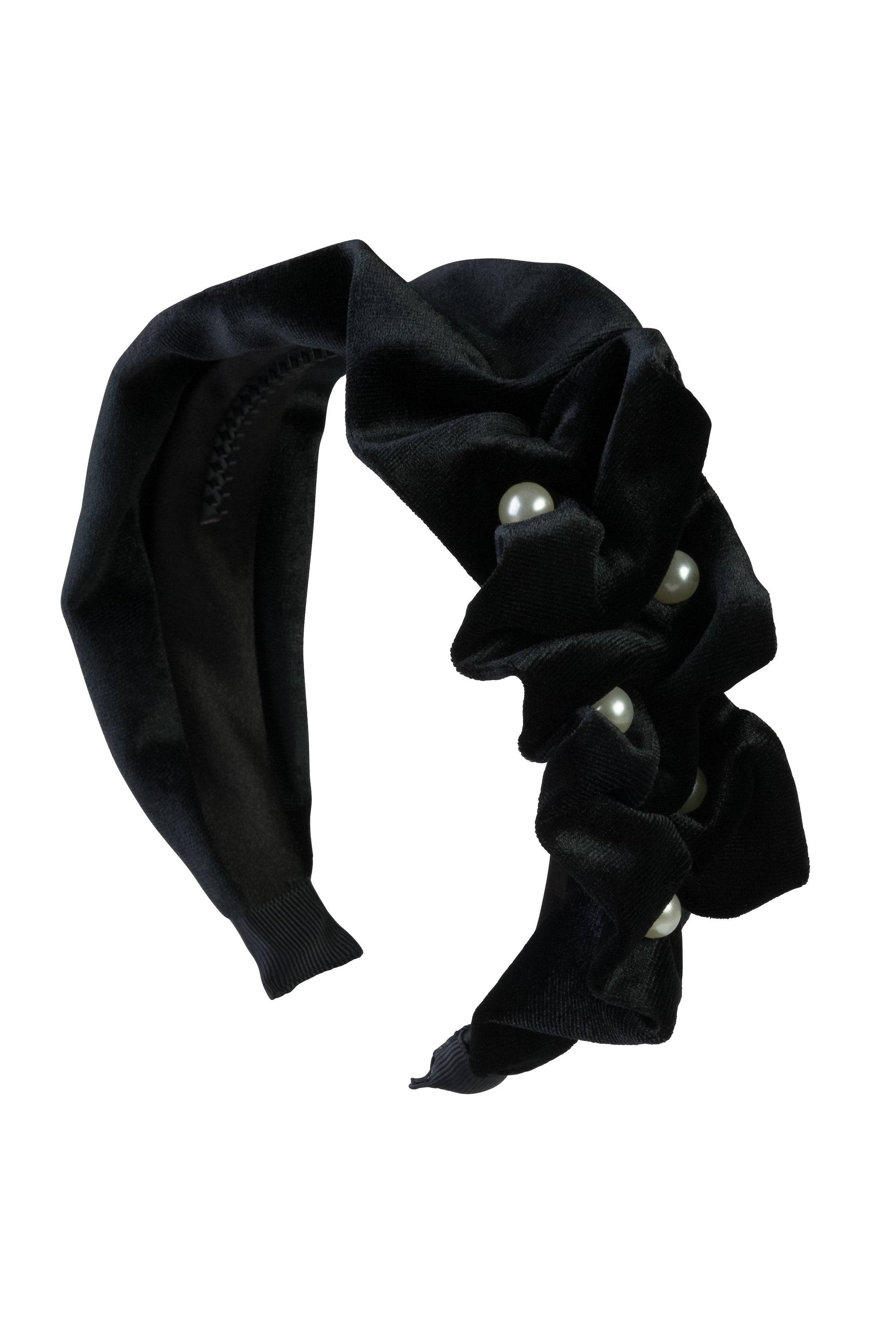 Ruffled Pearl Velvet Headband - Black - PROJECT 6, modest fashion