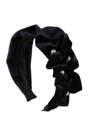 Ruffled Pearl Velvet Headband - Black