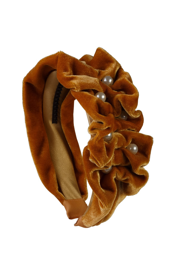 Ruffled Pearl Velvet Headband - Gold - PROJECT 6, modest fashion