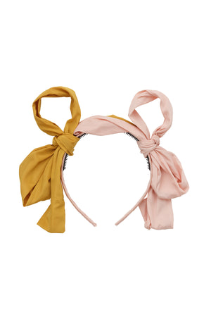 Side By Side Party Bow - Blush/Mustard