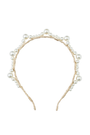 Triple Cluster Pearl Headband - Gold/Ivory