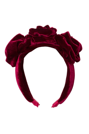 Triple Rose Garden Headband - Burgundy Velvet