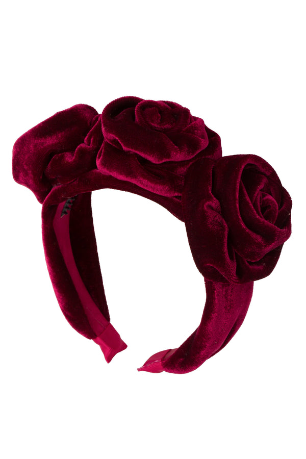 Triple Rose Garden Headband - Burgundy Velvet - PROJECT 6, modest fashion