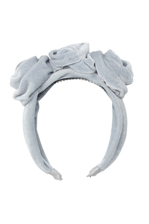 Triple Rose Garden Headband - Light Blue Velvet