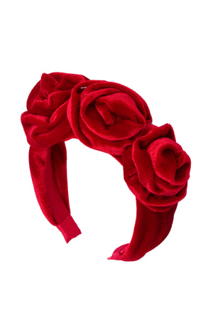 Triple Rose Garden Headband - Red Velvet