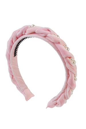 Twisted Pearl Velvet Headband - Baby Pink