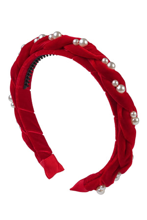 Twisted Pearl Velvet Headband - Red
