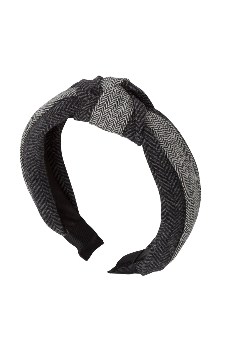 Knot Herringbone Headband - Charcoal/BW - PROJECT 6, modest fashion