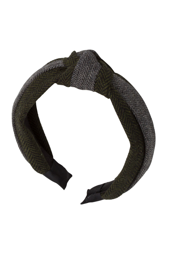 Knot Herringbone Headband - Olive/Grey - PROJECT 6, modest fashion