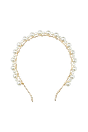 Uneven Pearls Headband - Gold/Ivory - PROJECT 6, modest fashion