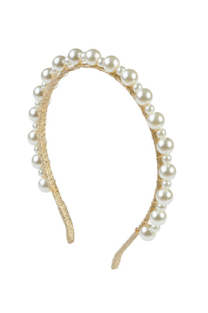 Uneven Pearls Headband - Gold/Ivory
