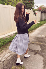 Maaya Short Length - Black/Gingham Poplin - PROJECT 6, modest fashion