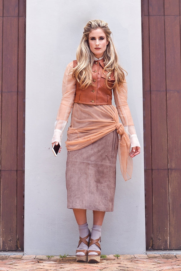 Shira Skirt- Taupe Seude - PROJECT 6, modest fashion