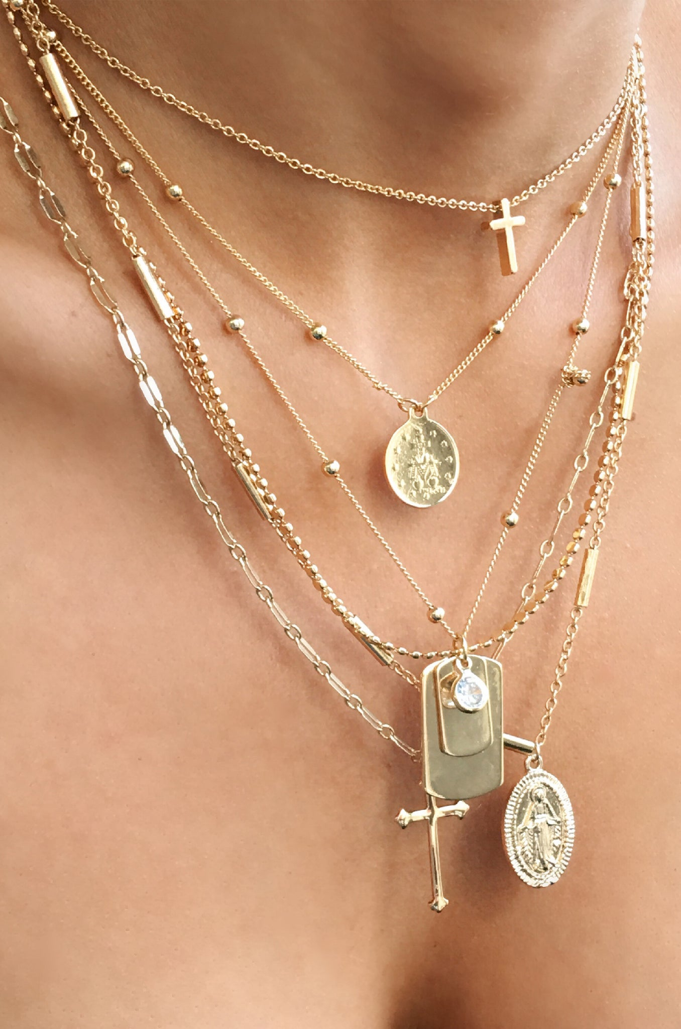 Like a Prayer Gold Layered Cross and Coin Necklace