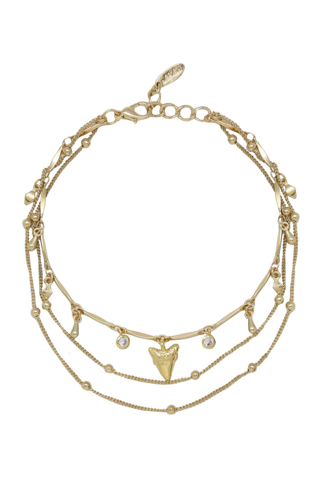 Delicate Chain & Shark Tooth Anklet in Gold