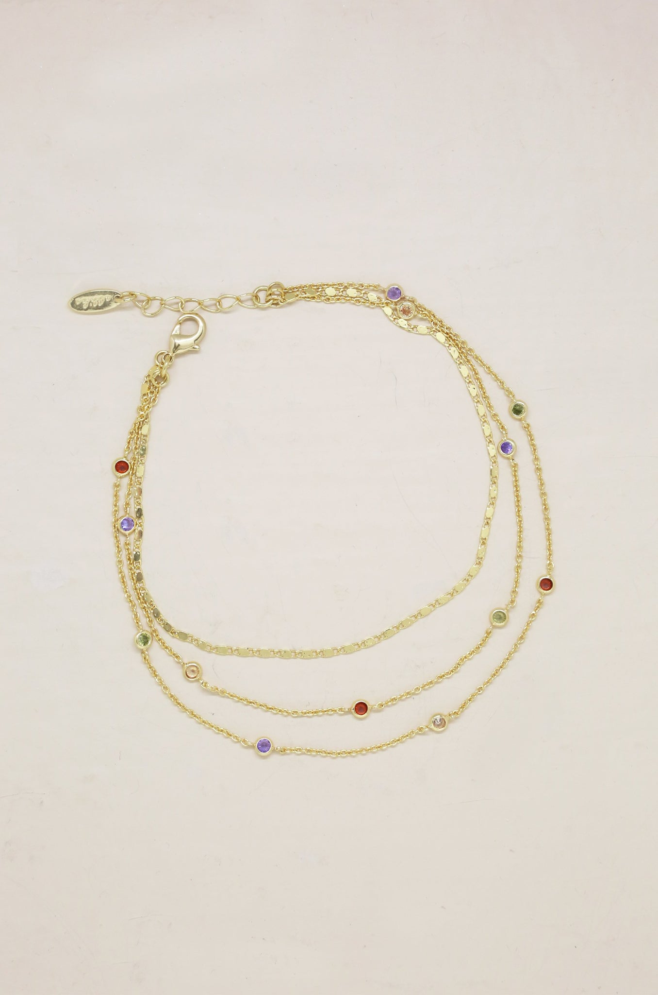 Over the Rainbow Multi-Chain Anklet in Gold