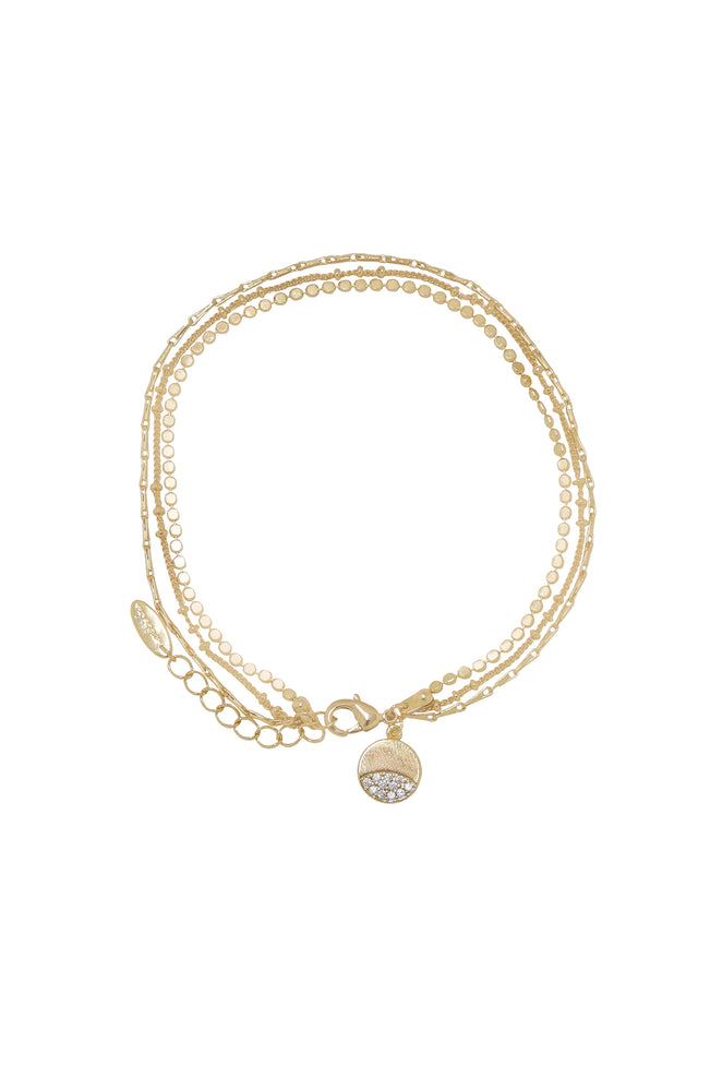 Crystal Dipped Multi 18k Gold Plated Chain Anklet