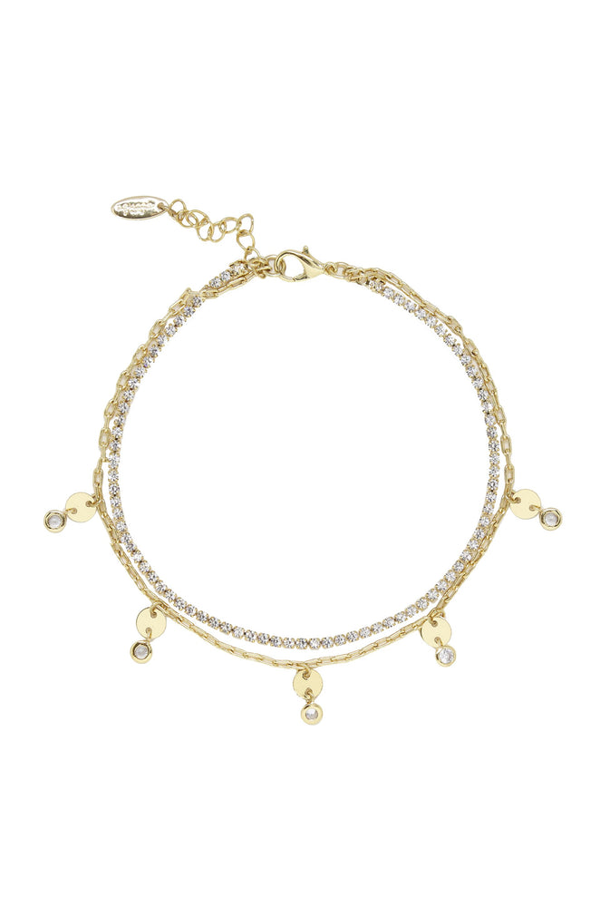Giovanna Layered Crystal 18k Gold Plated Anklet