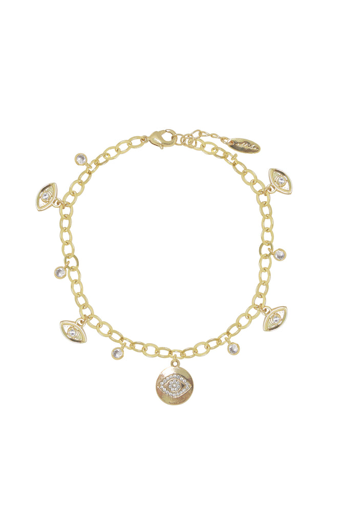 Third Eye Crystal Charm 18k Gold Plated Anklet
