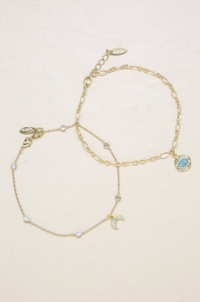 Into the Blue Third Eye and Crystal Horn Anklet Set