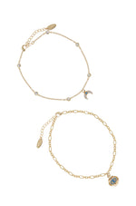 Blue Third Eye & Crystal Horn 18k Gold Plated Anklet Set of 2