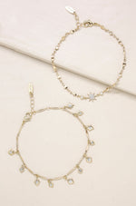 Crystal Starburst 18k Gold Plated Anklet Set of 2