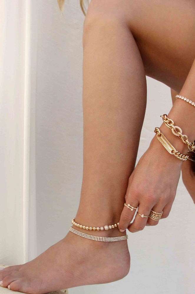 Rhinestone Baguette 18k Gold Plated Anklet