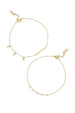 Dainty 18k Gold Plated Chain & Crystal Anklet Set of 2