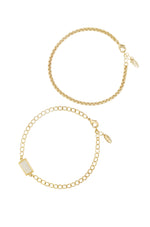 Gemini Mother of Pearl & 18k Gold Plated Anklet Set of 2