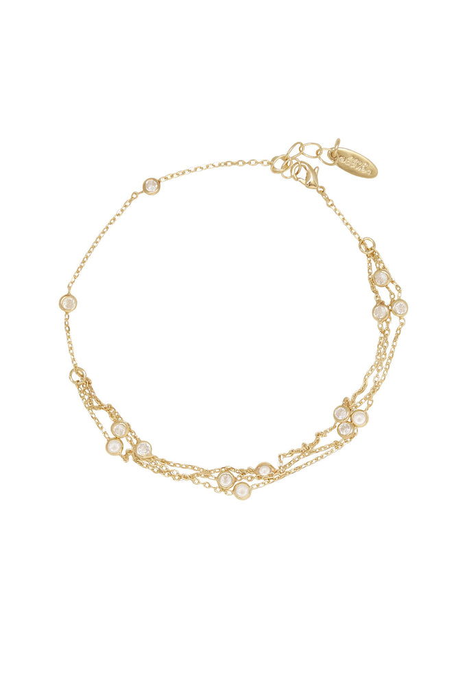Fine Details 18k Gold Plated Crystal Anklet on white background