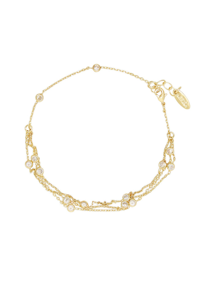 Fine Details 18k Gold Plated Crystal Anklet on white background 2