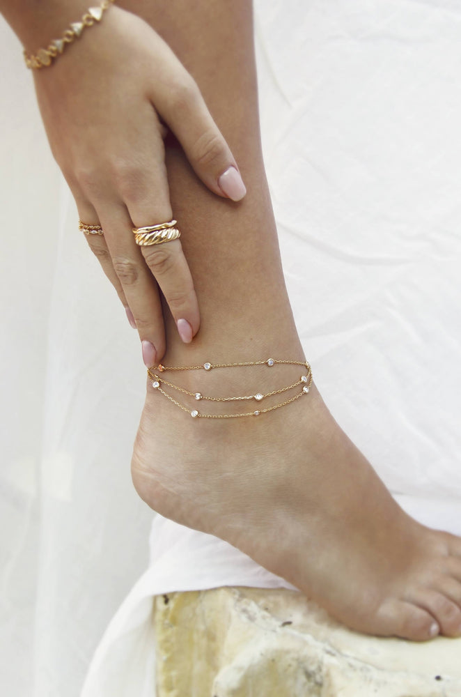 Fine Details 18k Gold Plated Crystal Anklet on model