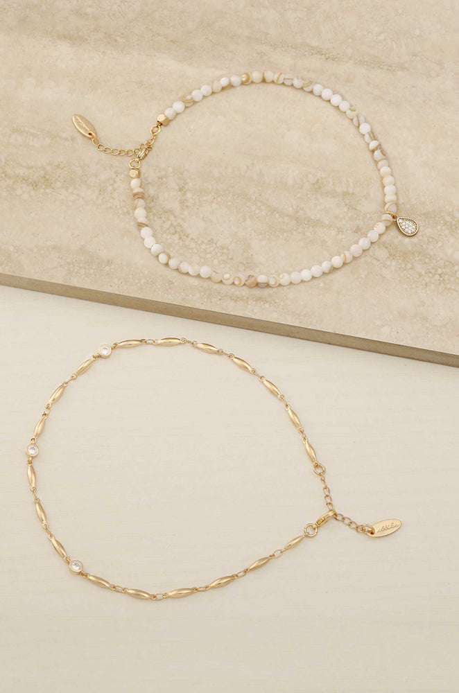 Beachcomber 18k Gold Plated Anklet Set with Shell Beads