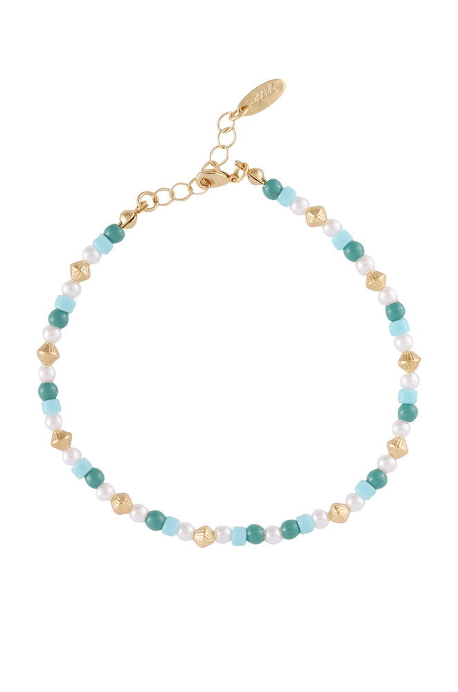 Seaside Turquoise and Pearl 18k Gold Plated Anklet Set