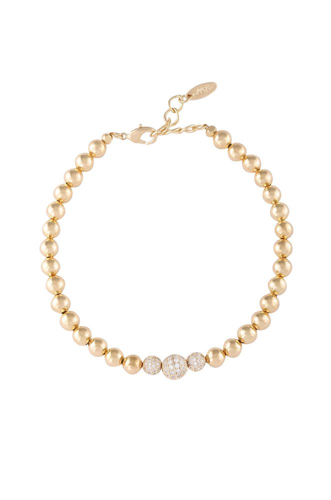 18k Gold Plated and Crystal Ball Anklet