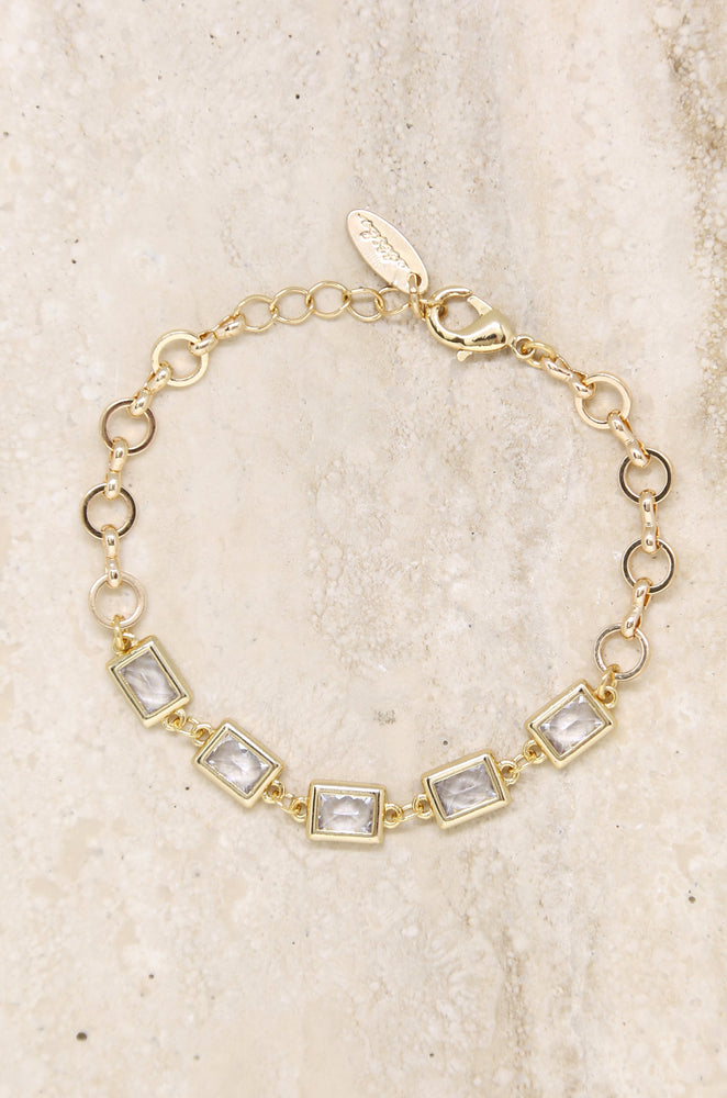 Francine Link 18k Gold Plated Bracelet with Rectangle Crystals