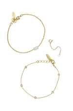 Opal & Crystal Dainty Chain Bracelet Set with Extender Add On