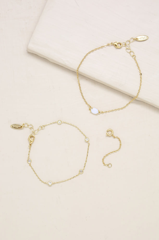 Opal & Crystal Dainty Gold Chain Bracelet Set with Extender Add On