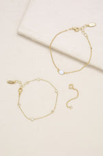 Opal & Crystal Dainty Bracelet Set with Extender Add On on slate background