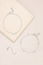 Opal & Crystal Dainty Bracelet Set with Extender Add On on slate background  2