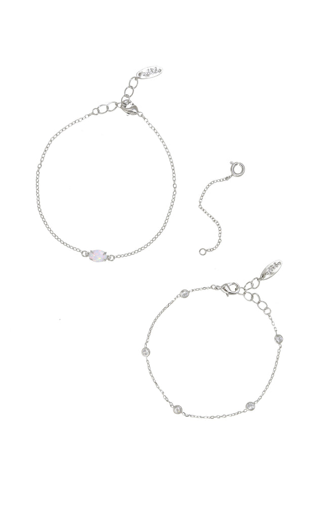 Opal & Crystal Dainty Bracelet Set with Extender Add On on white background  2