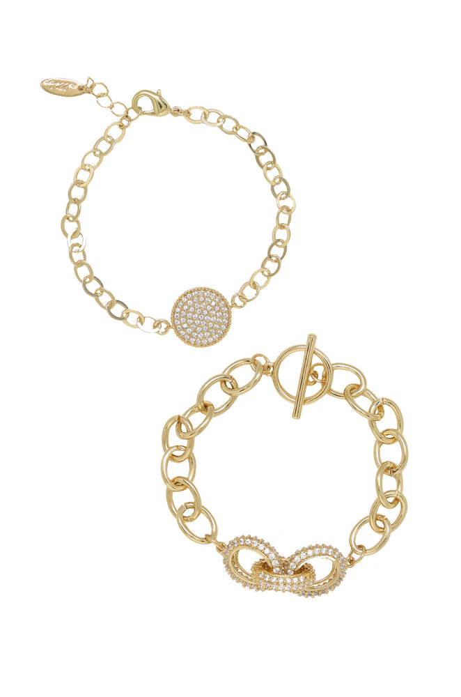 Mixed Crystal Disc & Link Chain Bracelet Set