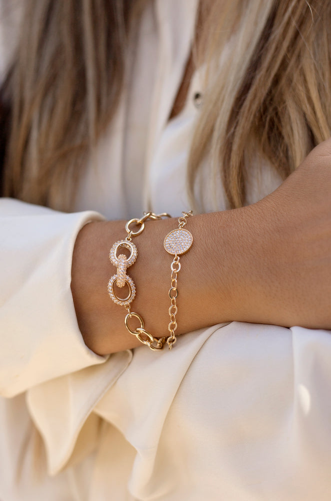 Mixed Crystal Disc & 18k Gold Plated Link Chain Bracelet Set