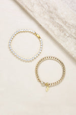 Crystal Chain & 18k Gold Plated Link Bracelet Set