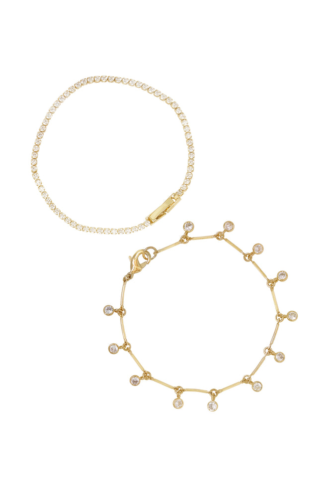 Crystal Droplet 18k Gold Plated Chain Bracelet Set on white background