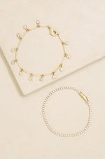 Crystal Droplet Chain Bracelet Set
